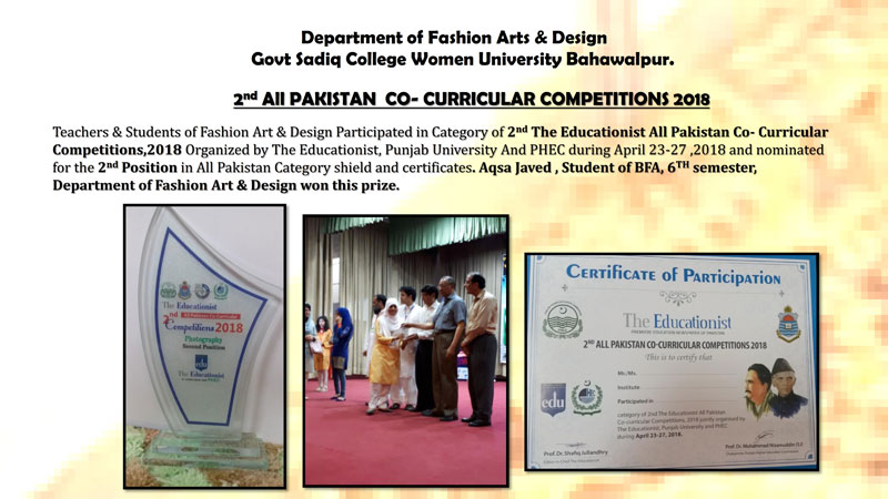 Department of fashion Arts & design GSCWU got 2nd position in All Pakistan Co-Curricular Competitions 2018