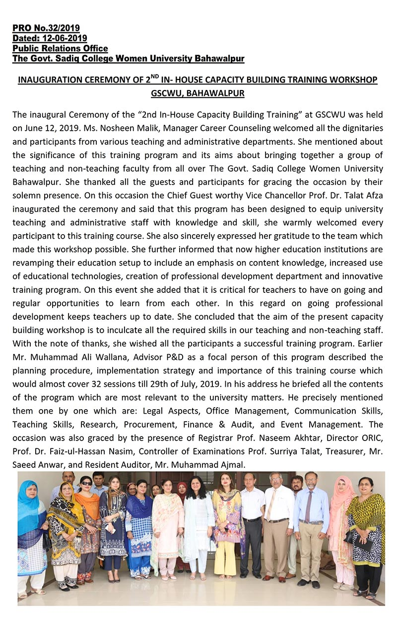 Inauguration Ceremony of 2nd in In-House Capacity Building Training Workshop GSCWU, Bahawalpur