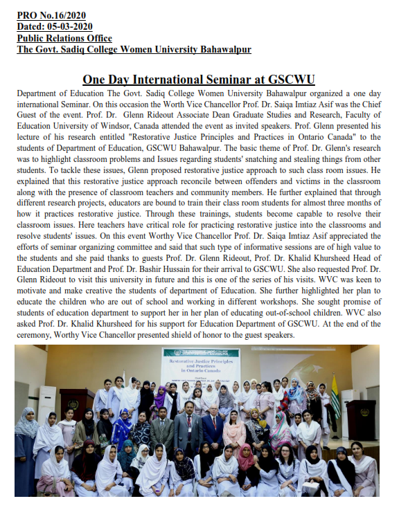 One Day International Seminar at GSCWU