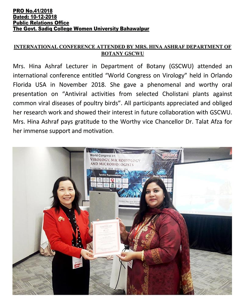 International Conference Attended By Mrs. Hina Ashraf Department of Botany GSCWU