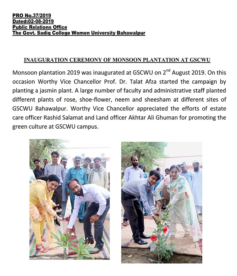 Inauguration Ceremony of Monsoon Plantation at GSCWU