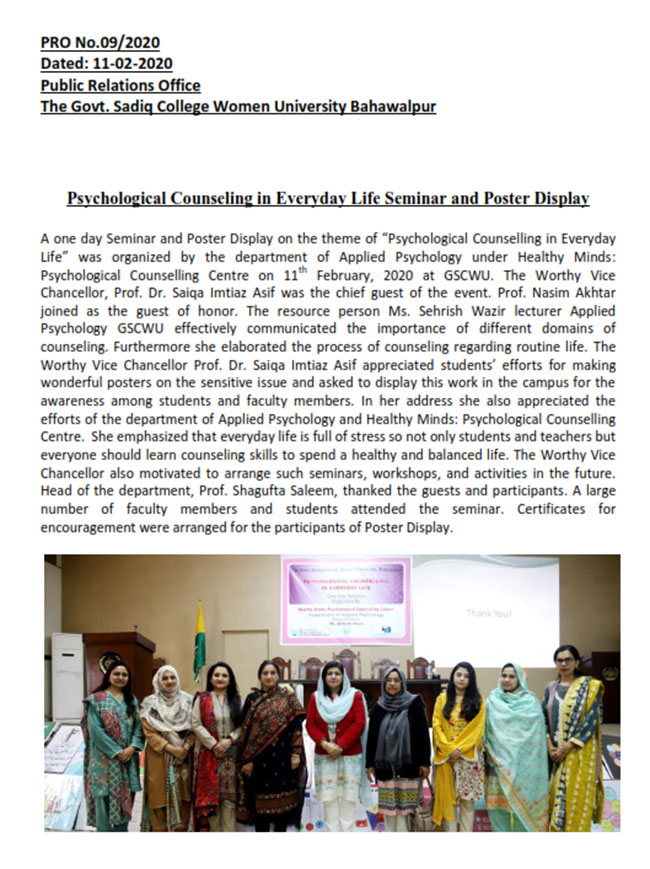 Psychological Counseling in Everyday Life Seminar and Poster Display