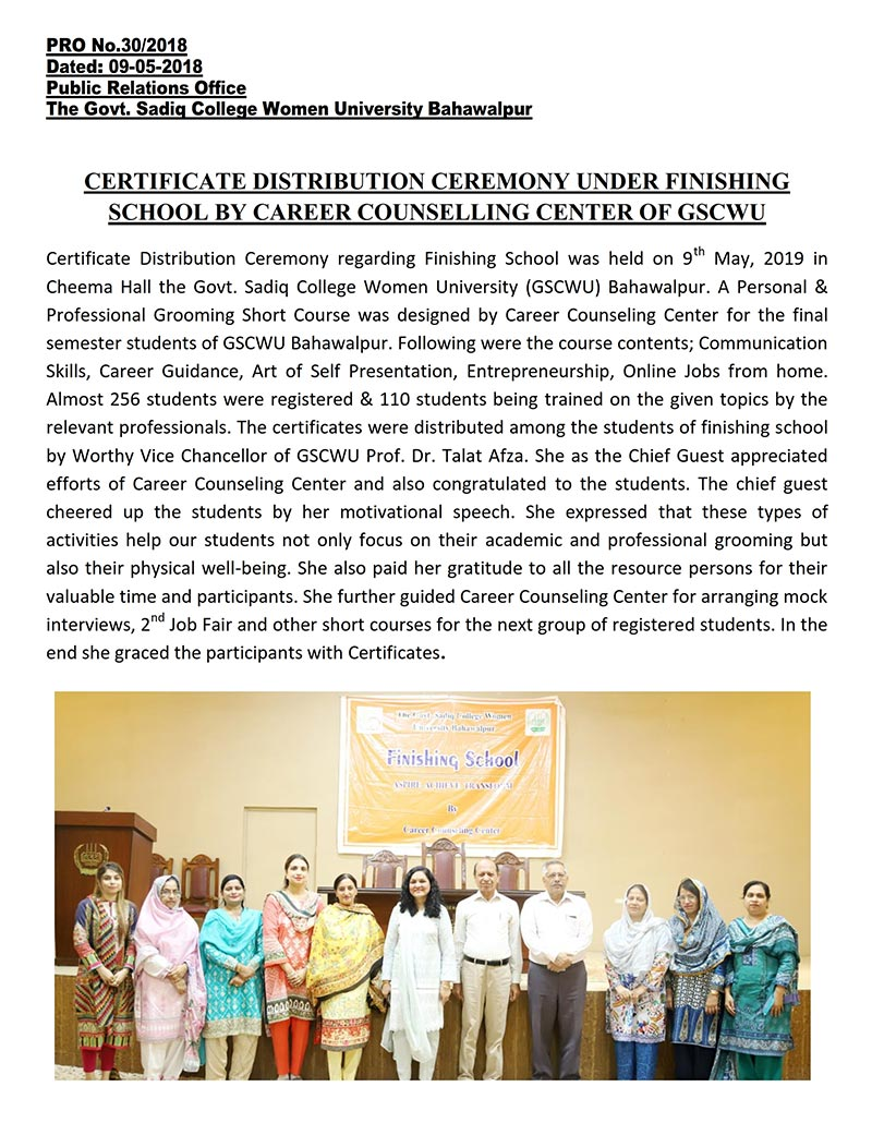 Certificate distribution ceremony under Finishing School by Career Counselling Center of GSCWU