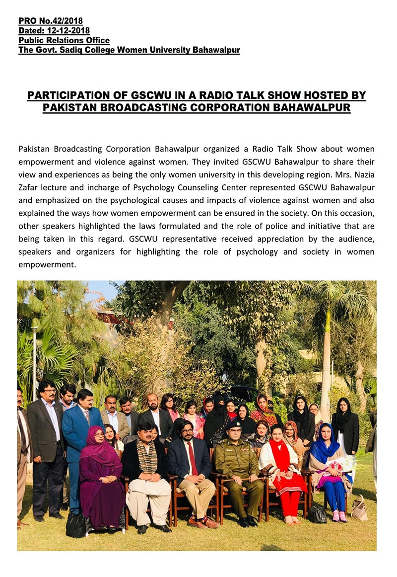 Participation of GSCWU in a Radio Talk Show hosted by PBC Bahawalpur