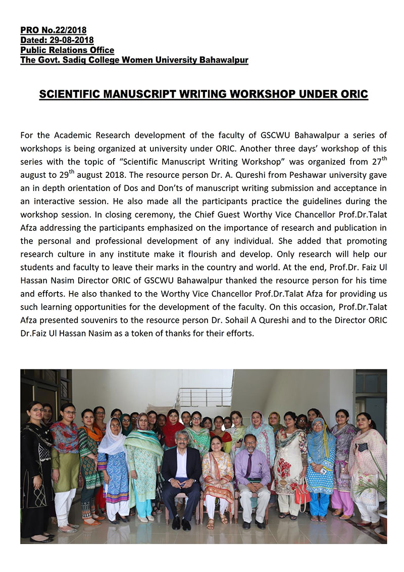Scientific Manuscrupt Writing Workshop by ORIC