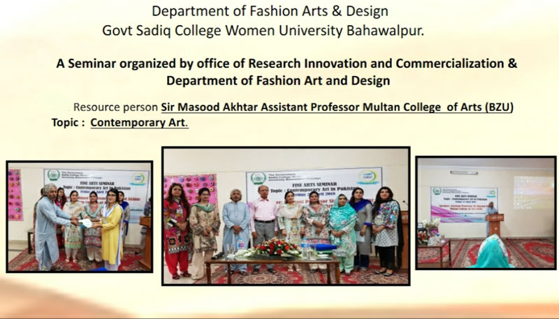 A seminar regarding Contemporary Art organized by depart fashion Arts & Design of  GSCWU with the collaboration of ORIC