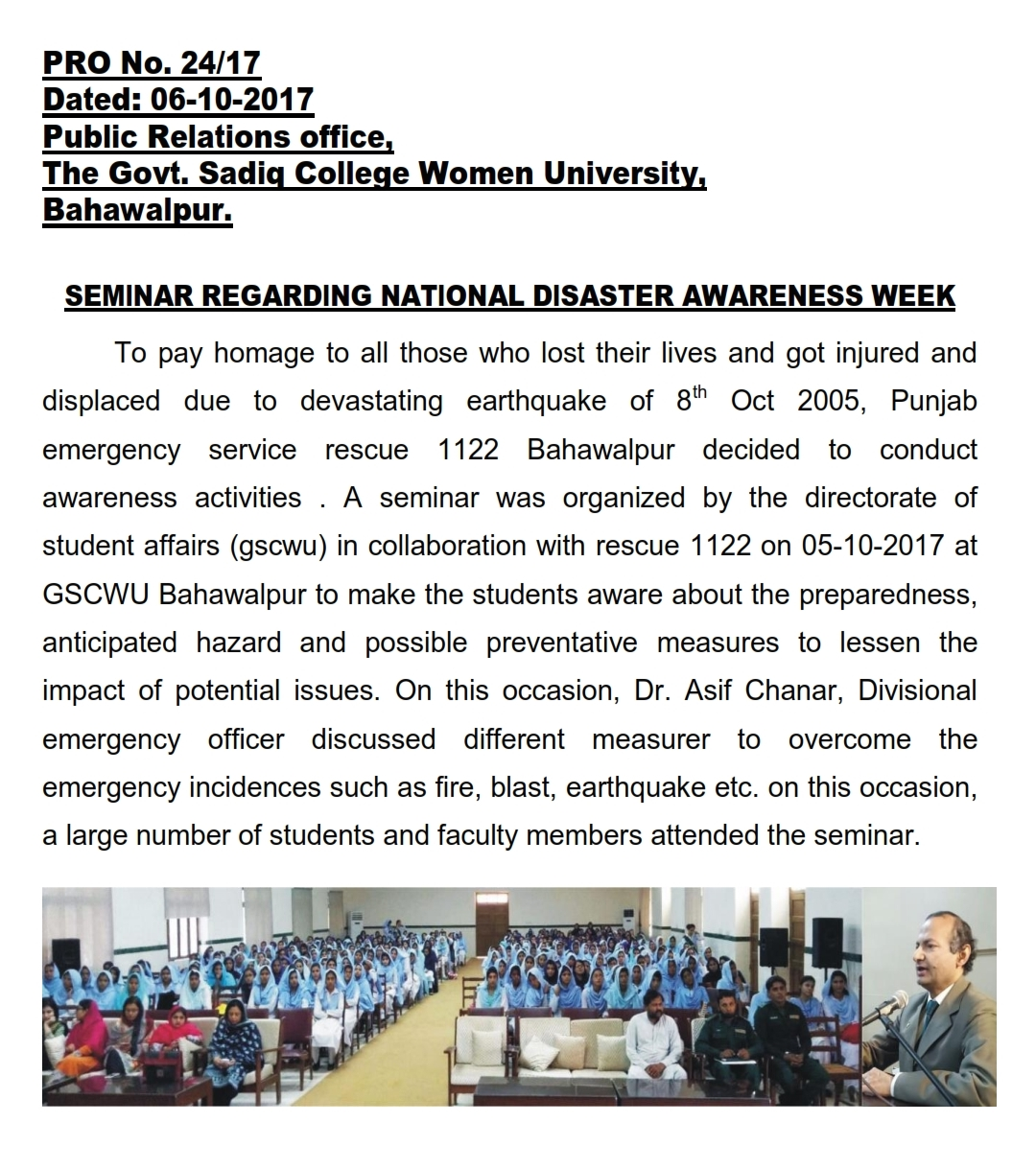 Seminar Regarding National Disaster Awareness Week