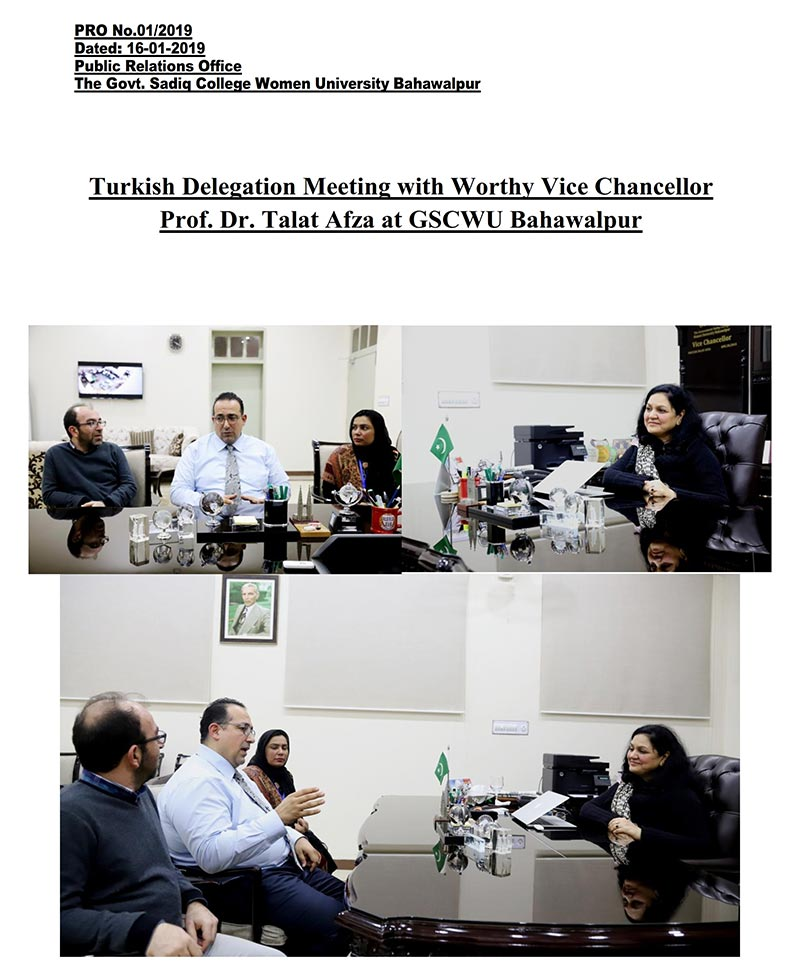 Turkish Delegation Meeting with Worthy Vice Chancellor Prof. Dr. Talat Afza at GSCWU  Bahawalpur