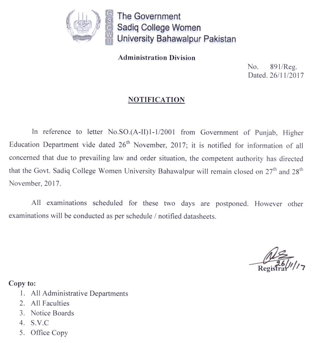 University Notification for Monday and Tuesday and Postpone papers during these days